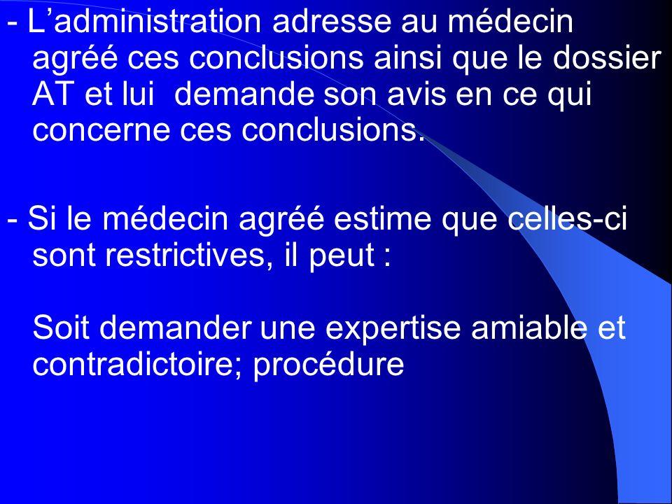 - Ladministration adresse au médecin agréé ces conclusions ainsi que le dossier AT et lui demande son avis en ce qui concerne ces conclusions. - Si le