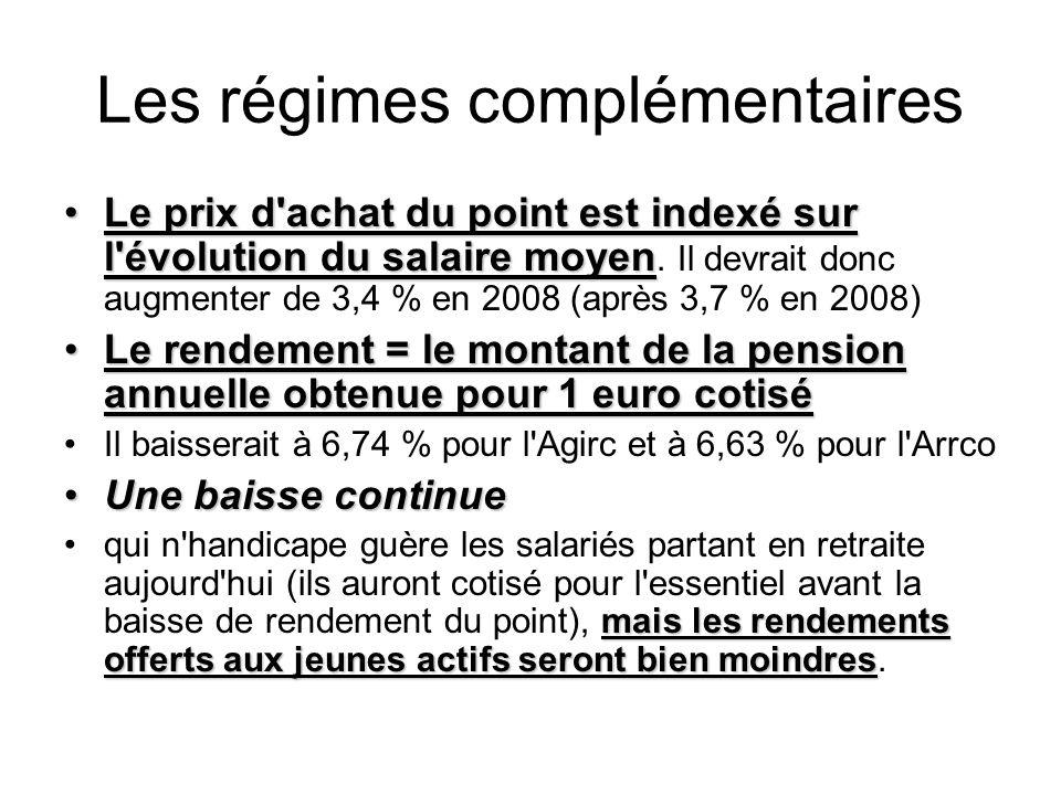 Les régimes complémentaires Le prix d achat du point est indexé sur l évolution du salaire moyenLe prix d achat du point est indexé sur l évolution du salaire moyen.