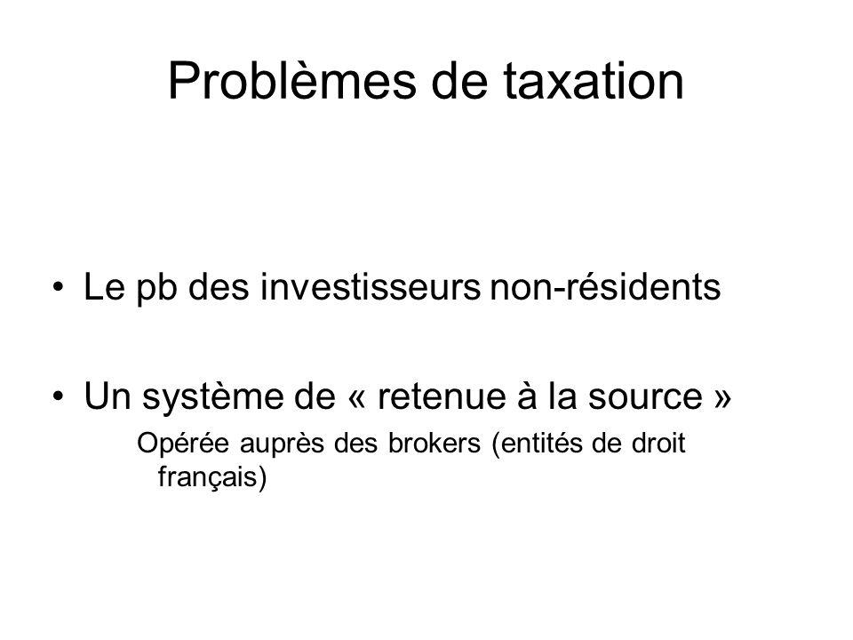 Problèmes de taxation Le pb des investisseurs non-résidents Un système de « retenue à la source » Opérée auprès des brokers (entités de droit français)