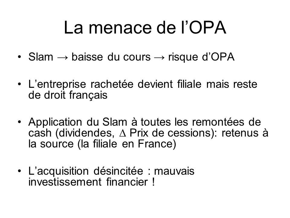 La menace de lOPA Slam baisse du cours risque dOPA Lentreprise rachetée devient filiale mais reste de droit français Application du Slam à toutes les remontées de cash (dividendes, Prix de cessions): retenus à la source (la filiale en France) Lacquisition désincitée : mauvais investissement financier !