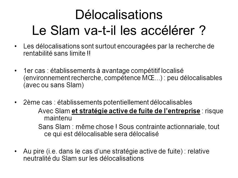 Délocalisations Le Slam va-t-il les accélérer ? Les délocalisations sont surtout encouragées par la recherche de rentabilité sans limite !! 1er cas :