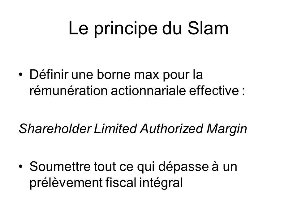 Le principe du Slam Définir une borne max pour la rémunération actionnariale effective : Shareholder Limited Authorized Margin Soumettre tout ce qui dépasse à un prélèvement fiscal intégral
