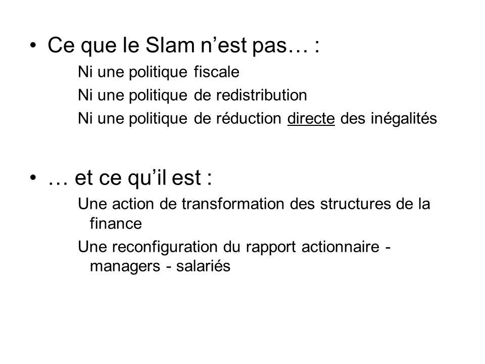 Ce que le Slam nest pas… : Ni une politique fiscale Ni une politique de redistribution Ni une politique de réduction directe des inégalités … et ce quil est : Une action de transformation des structures de la finance Une reconfiguration du rapport actionnaire - managers - salariés