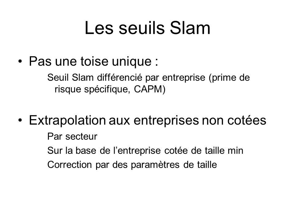 Les seuils Slam Pas une toise unique : Seuil Slam différencié par entreprise (prime de risque spécifique, CAPM) Extrapolation aux entreprises non cotées Par secteur Sur la base de lentreprise cotée de taille min Correction par des paramètres de taille