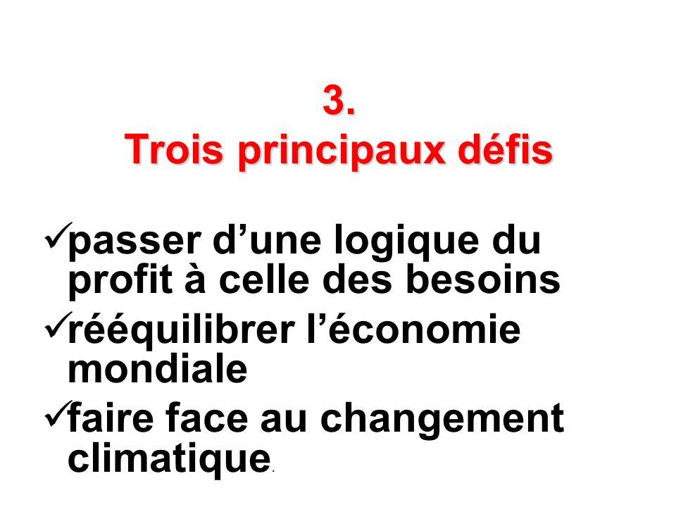 3. Trois principaux défis passer dune logique du profit à celle des besoins rééquilibrer léconomie mondiale faire face au changement climatique.