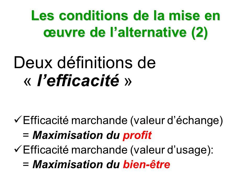 Les conditions de la mise en œuvre de lalternative (2) Deux définitions de « lefficacité » Efficacité marchande (valeur déchange) = Maximisation du profit Efficacité marchande (valeur dusage): = Maximisation du bien-être