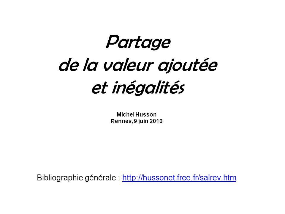 Partage de la valeur ajoutée et inégalités Michel Husson Rennes, 9 juin 2010 Bibliographie générale : http://hussonet.free.fr/salrev.htmhttp://hussonet.free.fr/salrev.htm