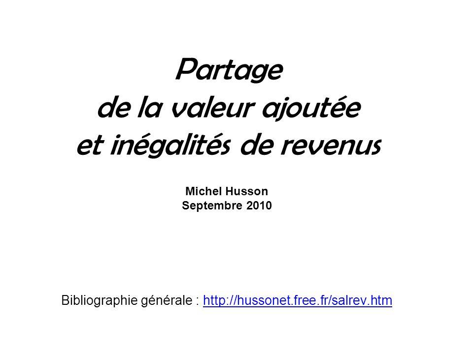Partage de la valeur ajoutée et inégalités de revenus Michel Husson Septembre 2010 Bibliographie générale : http://hussonet.free.fr/salrev.htmhttp://h