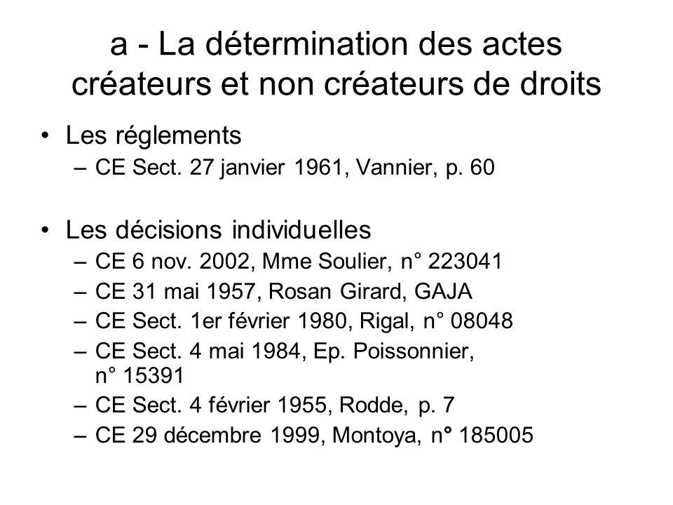 a - La détermination des actes créateurs et non créateurs de droits Les réglements –CE Sect. 27 janvier 1961, Vannier, p. 60 Les décisions individuell