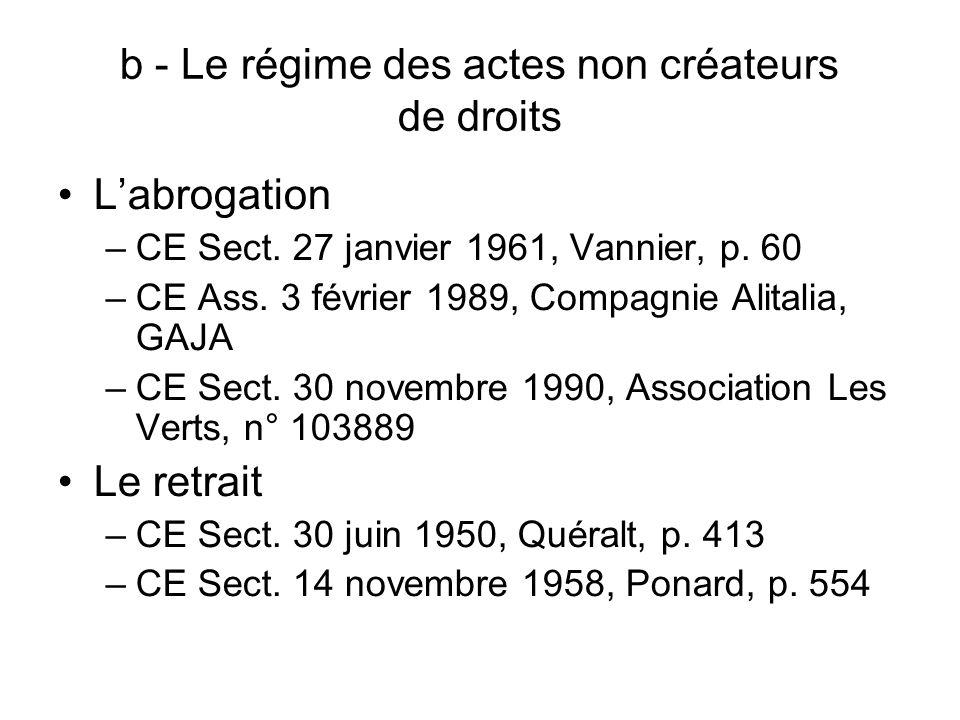 b - Le régime des actes non créateurs de droits Labrogation –CE Sect. 27 janvier 1961, Vannier, p. 60 –CE Ass. 3 février 1989, Compagnie Alitalia, GAJ