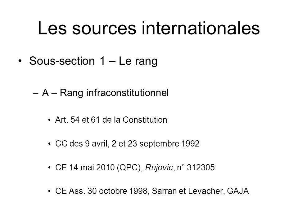 Les sources internationales Sous-section 1 – Le rang –A – Rang infraconstitutionnel Art. 54 et 61 de la Constitution CC des 9 avril, 2 et 23 septembre