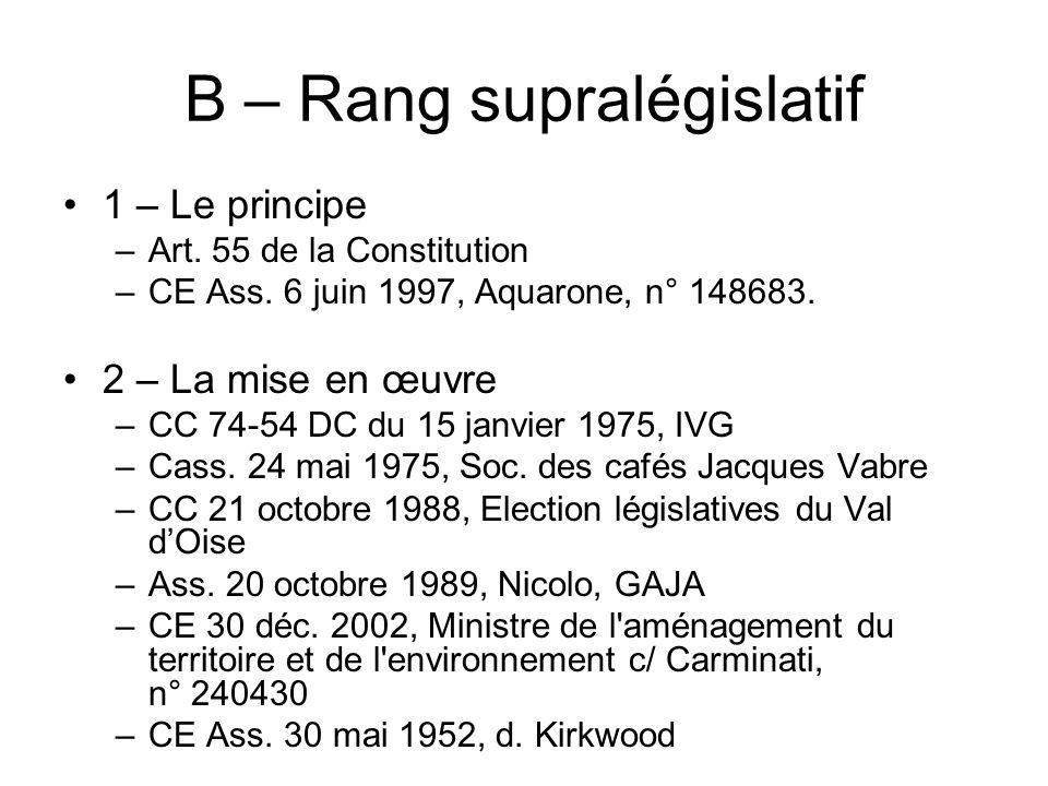 B – Rang supralégislatif 1 – Le principe –Art. 55 de la Constitution –CE Ass. 6 juin 1997, Aquarone, n° 148683. 2 – La mise en œuvre –CC 74-54 DC du 1