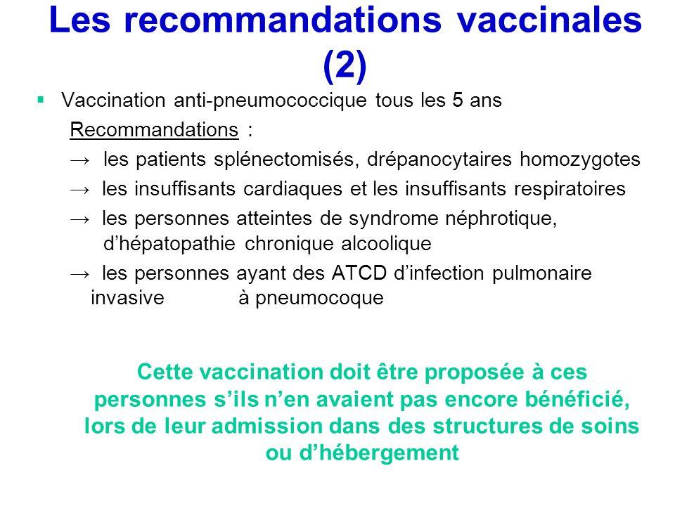 Les recommandations vaccinales (2) Vaccination anti-pneumococcique tous les 5 ans Recommandations : les patients splénectomisés, drépanocytaires homoz