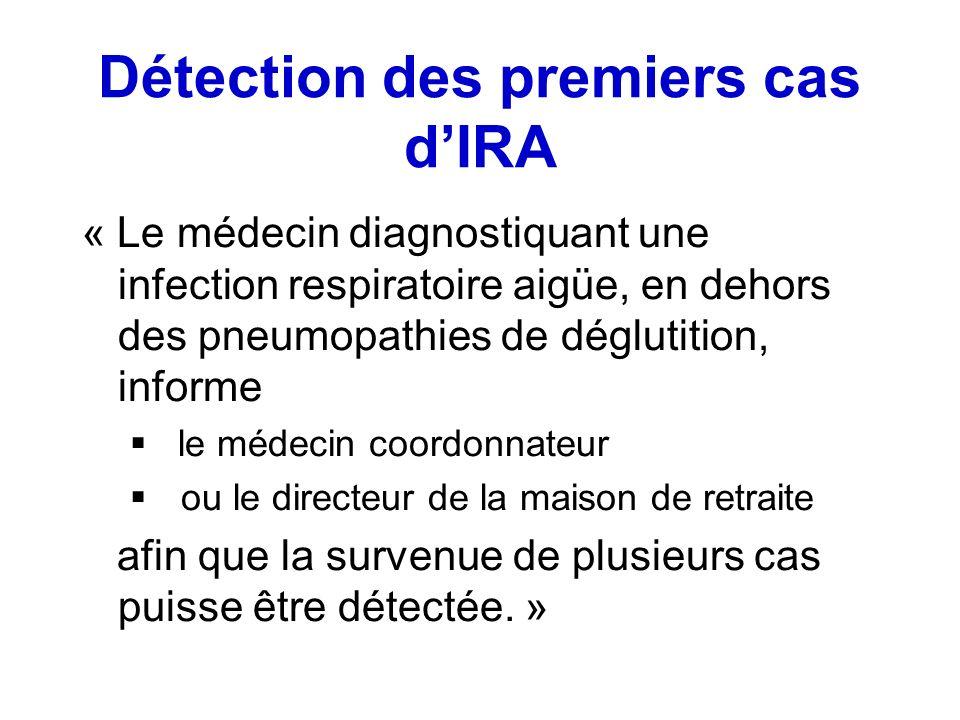 Détection des premiers cas dIRA « Le médecin diagnostiquant une infection respiratoire aigüe, en dehors des pneumopathies de déglutition, informe le m