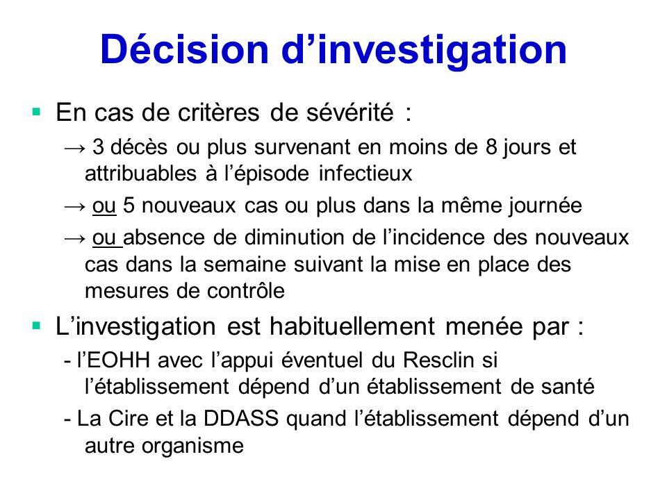 Décision dinvestigation En cas de critères de sévérité : 3 décès ou plus survenant en moins de 8 jours et attribuables à lépisode infectieux ou 5 nouv