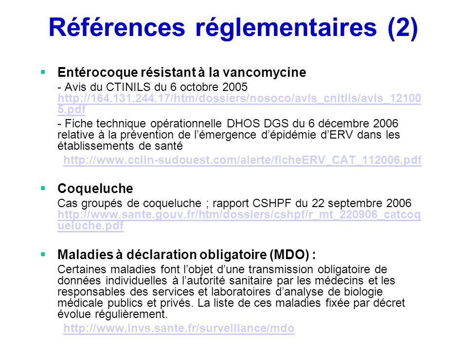 Références réglementaires (2) Entérocoque résistant à la vancomycine - Avis du CTINILS du 6 octobre 2005 http://164.131.244.17/htm/dossiers/nosoco/avi