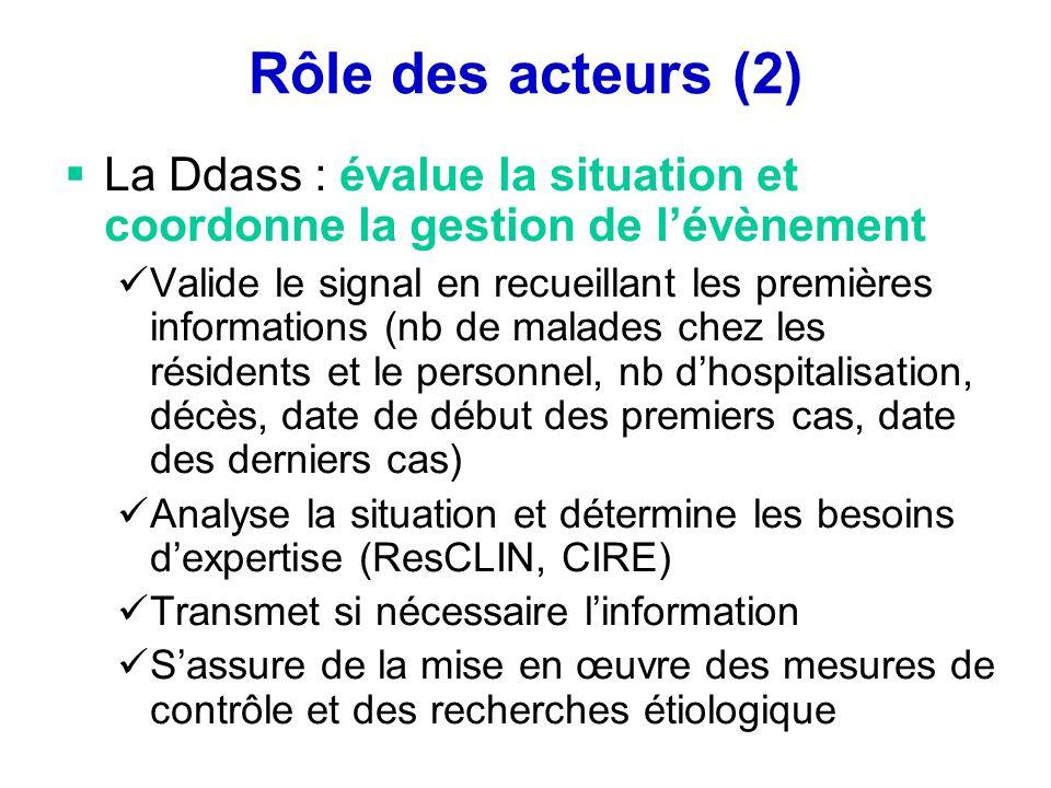 Rôle des acteurs (2) La Ddass : évalue la situation et coordonne la gestion de lévènement Valide le signal en recueillant les premières informations (