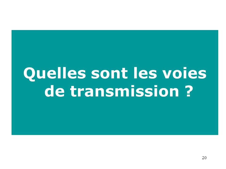 20 Quelles sont les voies de transmission ?