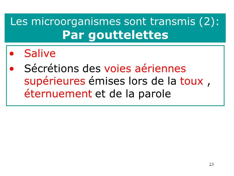 23 Les microorganismes sont transmis (2): Par gouttelettes Salive Sécrétions des voies aériennes supérieures émises lors de la toux, éternuement et de la parole