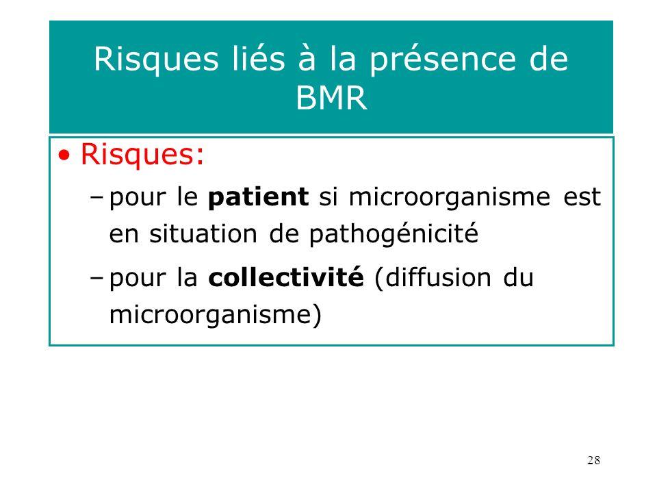 28 Risques liés à la présence de BMR Risques: –pour le patient si microorganisme est en situation de pathogénicité –pour la collectivité (diffusion du microorganisme)