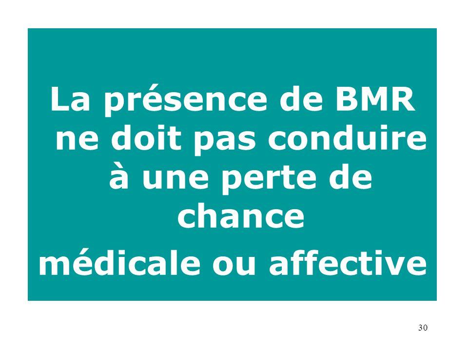 30 La présence de BMR ne doit pas conduire à une perte de chance médicale ou affective