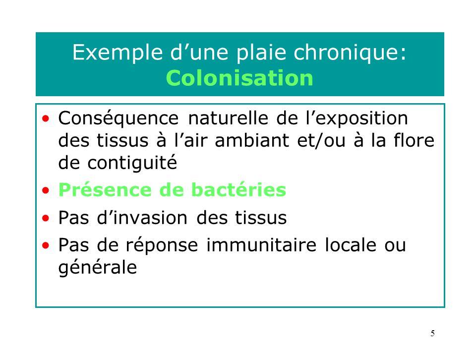 5 Exemple dune plaie chronique: Colonisation Conséquence naturelle de lexposition des tissus à lair ambiant et/ou à la flore de contiguité Présence de bactéries Pas dinvasion des tissus Pas de réponse immunitaire locale ou générale