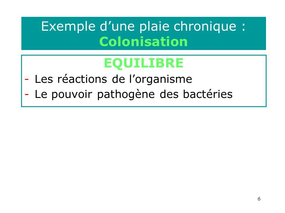 7 Exemple dune plaie chronique : Infection Multiplication bactérienne Invasion des tissus cutanés et sous- cutanés voire musculaires et osseux Réponse immunitaire locale ou générale Inflammation (rougeur, oedème, douleur) Recrutement de polynucléaires (pus) Fièvre……