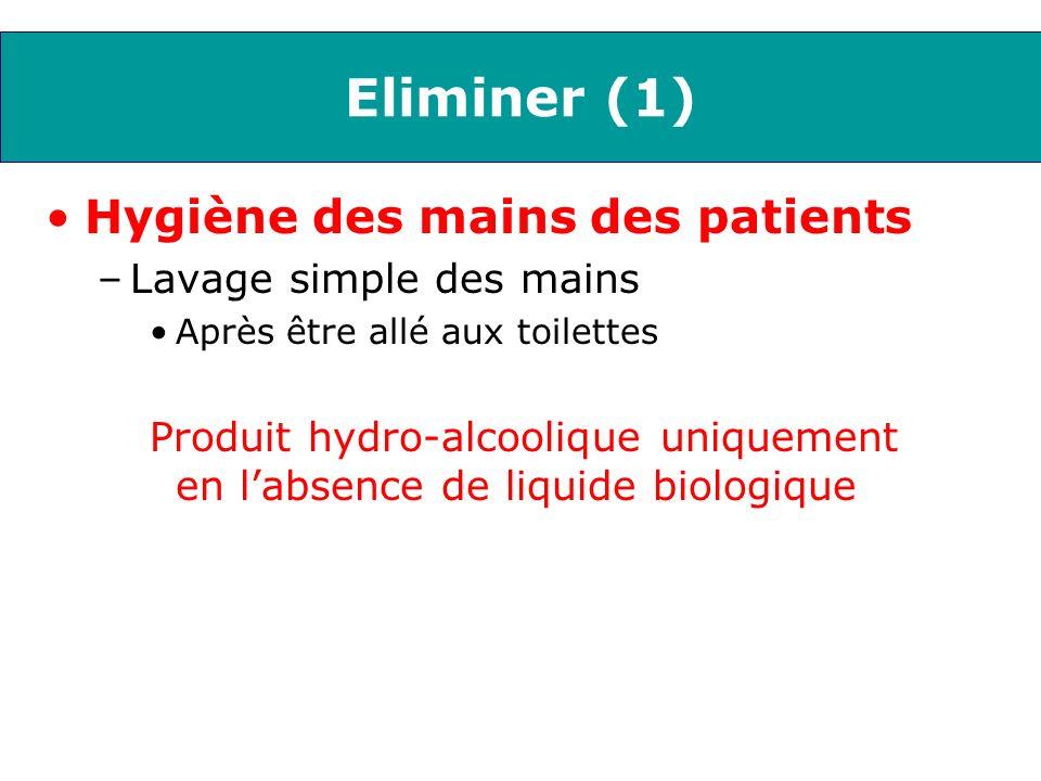 Eliminer (1) Hygiène des mains des patients –Lavage simple des mains Après être allé aux toilettes Produit hydro-alcoolique uniquement en labsence de