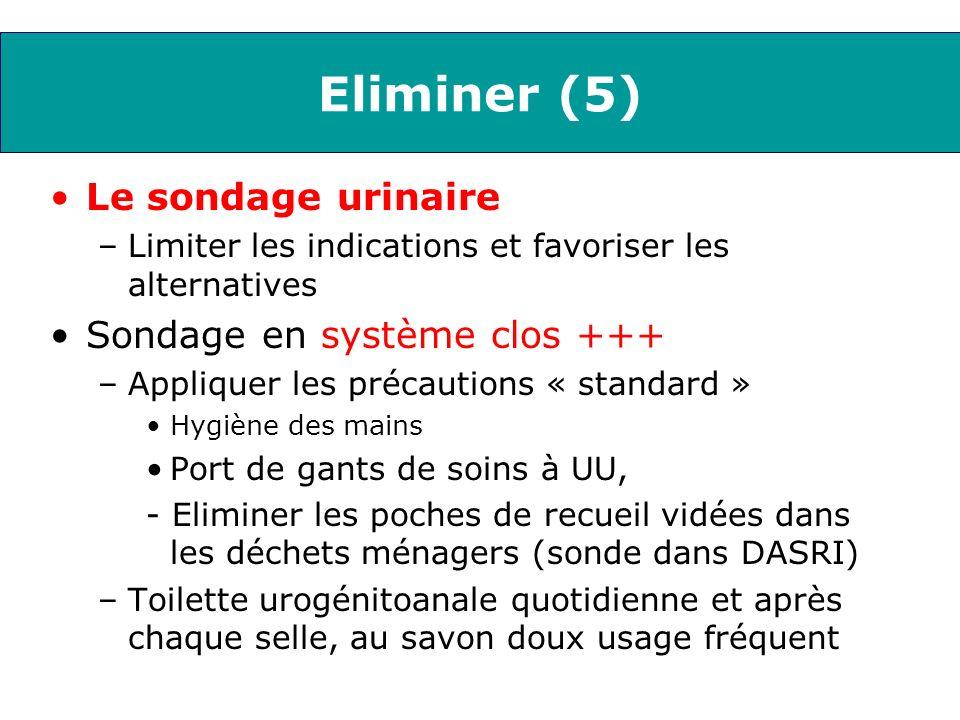 Eliminer (5) Le sondage urinaire –Limiter les indications et favoriser les alternatives Sondage en système clos +++ –Appliquer les précautions « stand