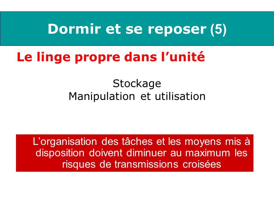 Dormir et se reposer (5) Le linge propre dans lunité Stockage Manipulation et utilisation Lorganisation des tâches et les moyens mis à disposition doi
