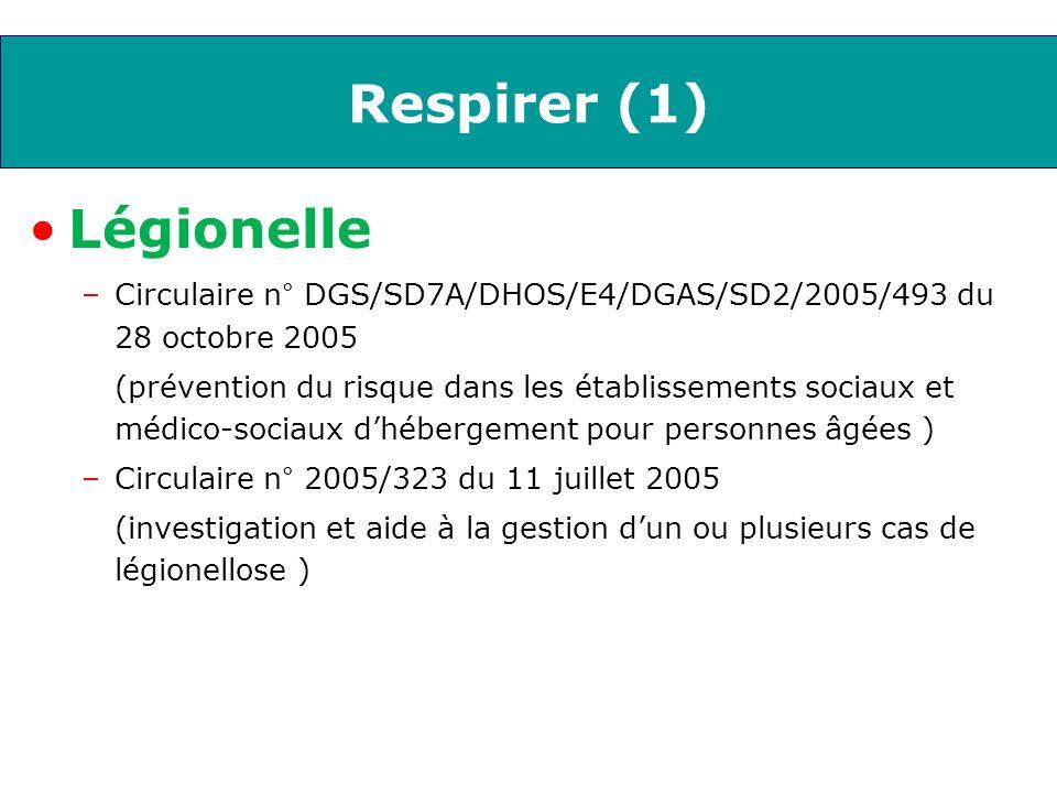 Respirer (2) Grippe –Prophylaxie chez les personnes à risque lors dune épidémie de grippe dans une collectivité en période de circulation du virus grippal Note n°2004/244 du 17 septembre 2004 Circulaire DGAS/SD2 2005-425 du 16 septembre 2005 (vaccination)