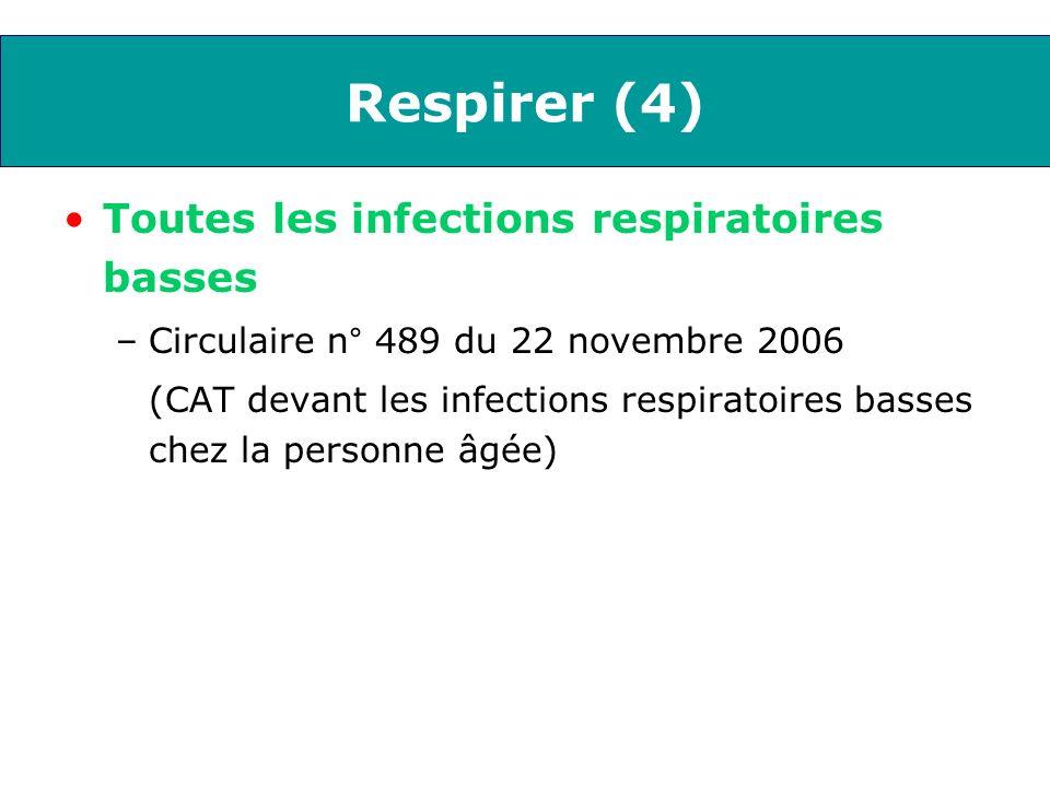 Respirer (4) Toutes les infections respiratoires basses –Circulaire n° 489 du 22 novembre 2006 (CAT devant les infections respiratoires basses chez la