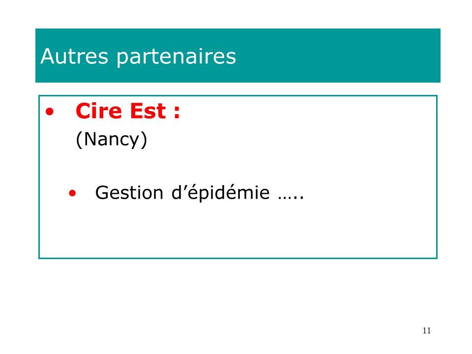 11 Autres partenaires Cire Est : (Nancy) Gestion dépidémie …..