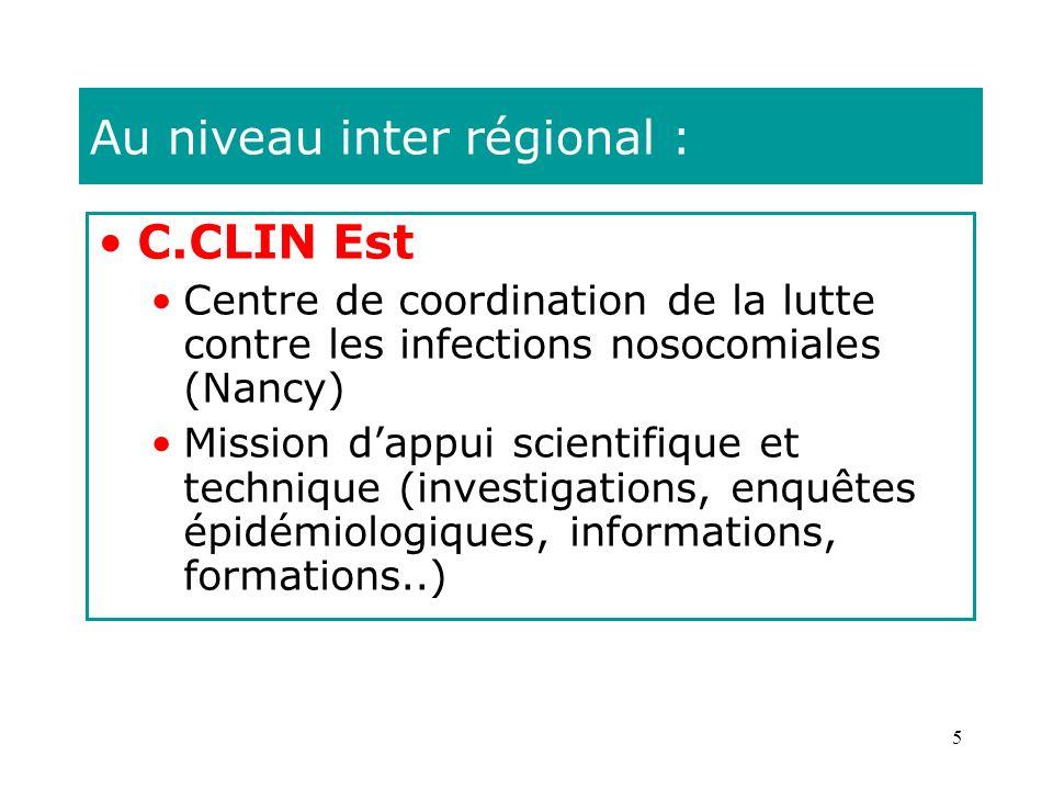 5 Au niveau inter régional : C.CLIN Est Centre de coordination de la lutte contre les infections nosocomiales (Nancy) Mission dappui scientifique et t