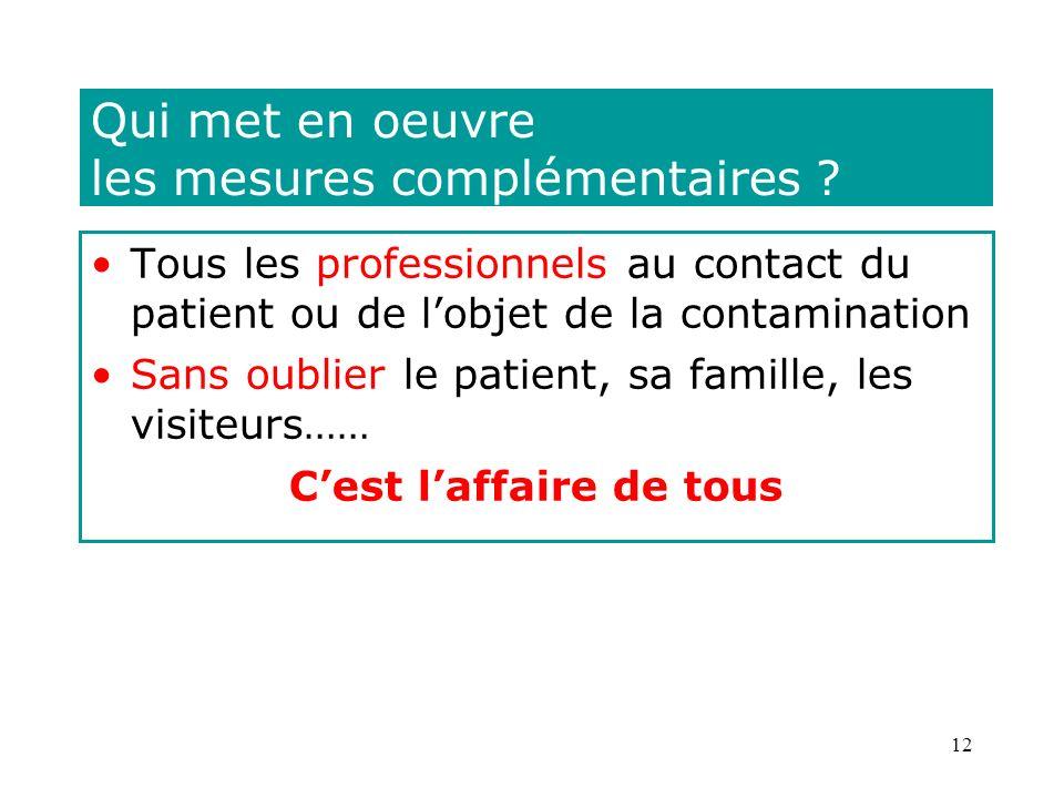 12 Qui met en oeuvre les mesures complémentaires ? Tous les professionnels au contact du patient ou de lobjet de la contamination Sans oublier le pati
