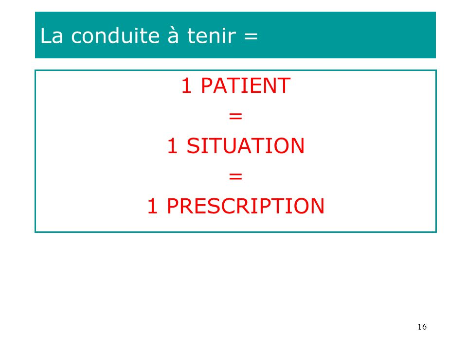 16 La conduite à tenir = 1 PATIENT = 1 SITUATION = 1 PRESCRIPTION