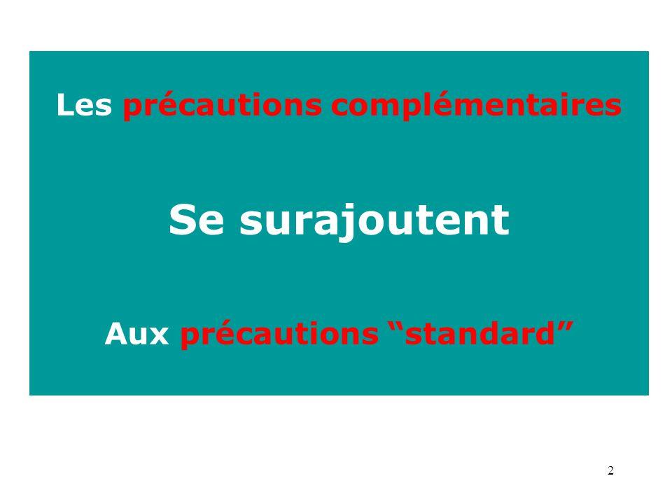 2 Les précautions complémentaires Se surajoutent Aux précautions standard
