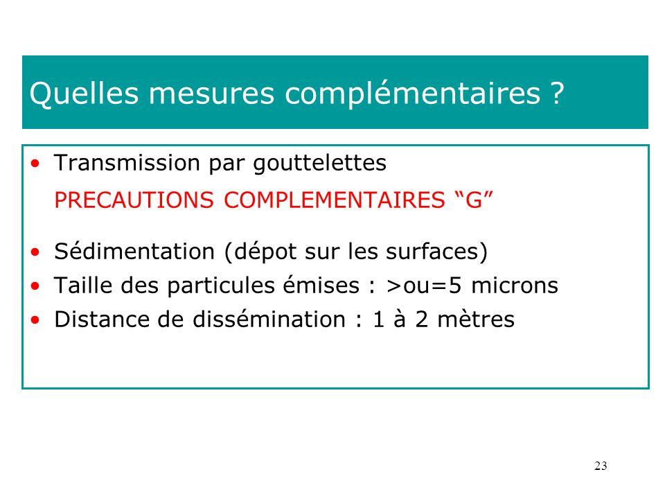 23 Quelles mesures complémentaires ? Transmission par gouttelettes PRECAUTIONS COMPLEMENTAIRES G Sédimentation (dépot sur les surfaces) Taille des par