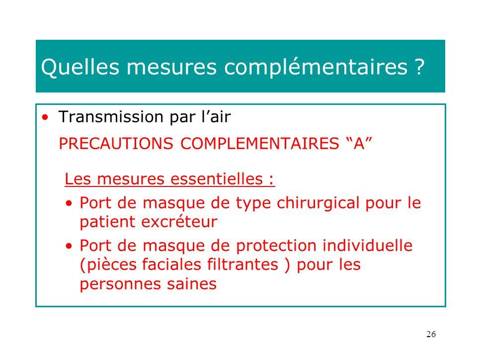 26 Quelles mesures complémentaires ? Transmission par lair PRECAUTIONS COMPLEMENTAIRES A Les mesures essentielles : Port de masque de type chirurgical