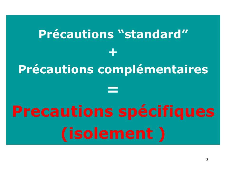 3 Précautions standard + Précautions complémentaires = Precautions spécifiques (isolement )