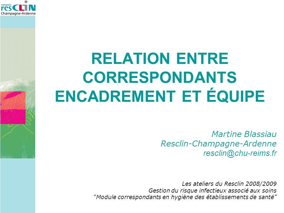 Martine Blassiau Resclin-Champagne-Ardenne resclin@chu-reims.fr Les ateliers du Resclin 2008/2009 Gestion du risque infectieux associé aux soins Modul