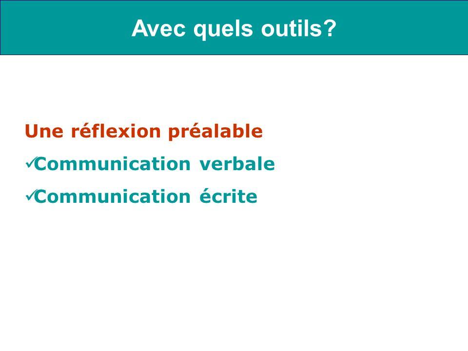 Une réflexion préalable Communication verbale Communication écrite Avec quels outils?