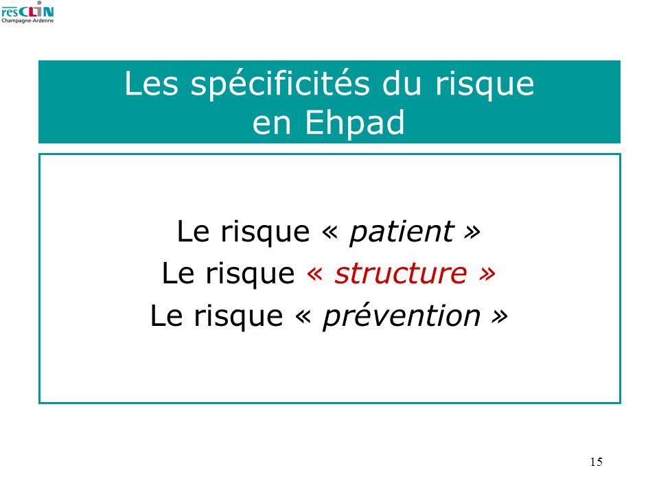 15 Les spécificités du risque en Ehpad Le risque « patient » Le risque « structure » Le risque « prévention »