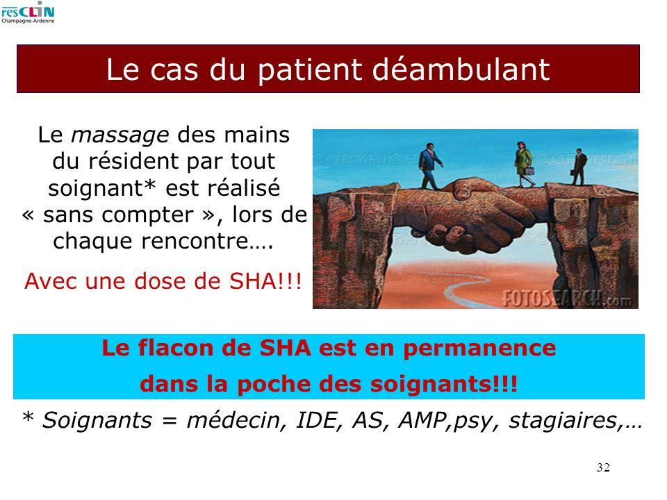 32 Le cas du patient déambulant Le massage des mains du résident par tout soignant* est réalisé « sans compter », lors de chaque rencontre…. Avec une