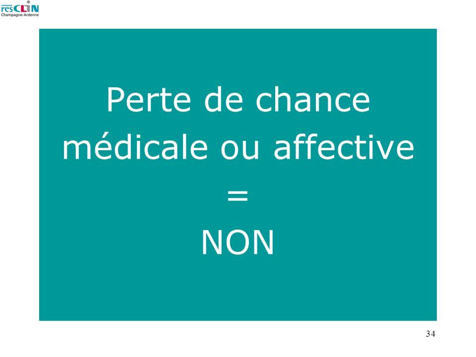 34 Perte de chance médicale ou affective = NON