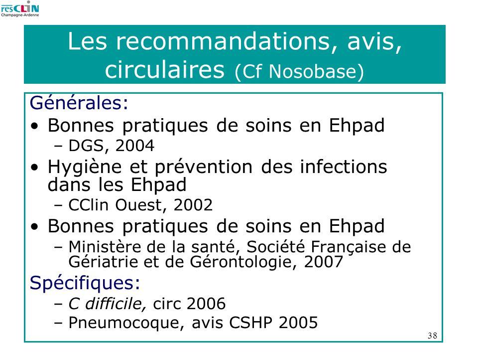 38 Les recommandations, avis, circulaires (Cf Nosobase) Générales: Bonnes pratiques de soins en Ehpad –DGS, 2004 Hygiène et prévention des infections