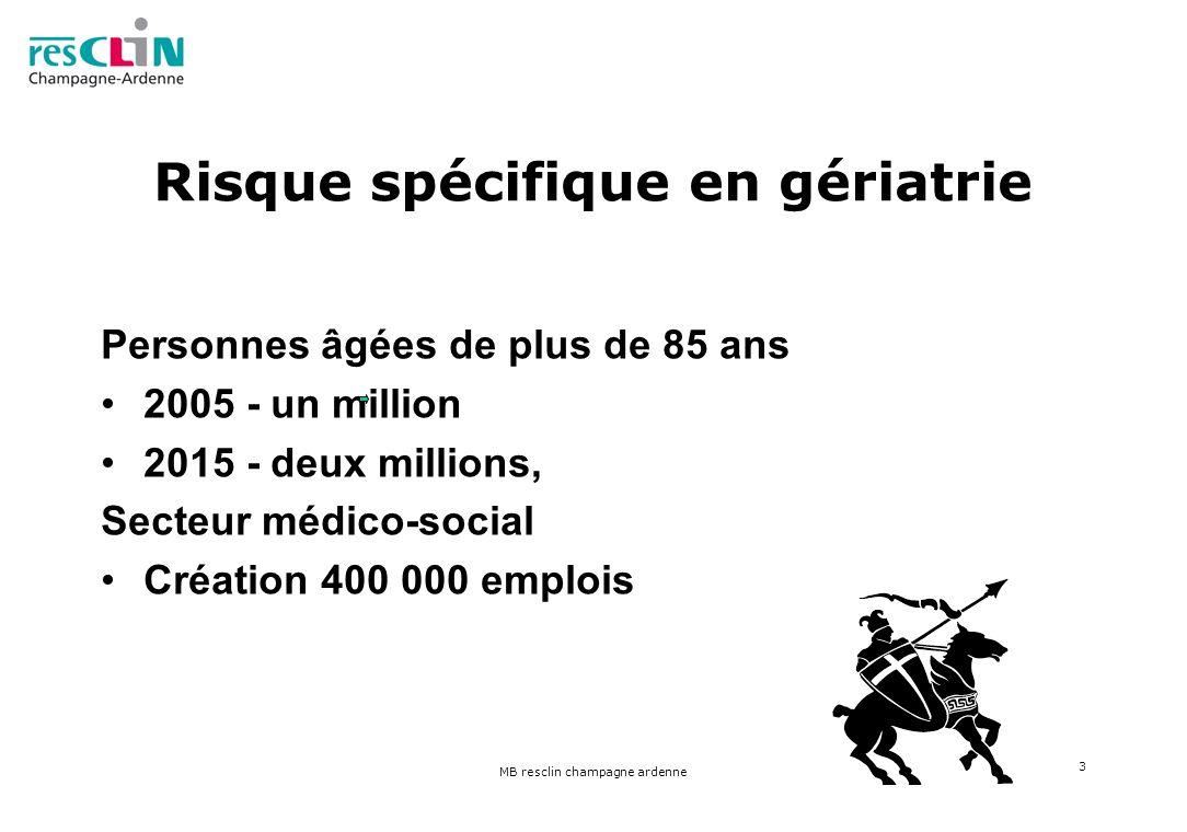 MB resclin champagne ardenne 3 Risque spécifique en gériatrie Personnes âgées de plus de 85 ans 2005 - un million 2015 - deux millions, Secteur médico