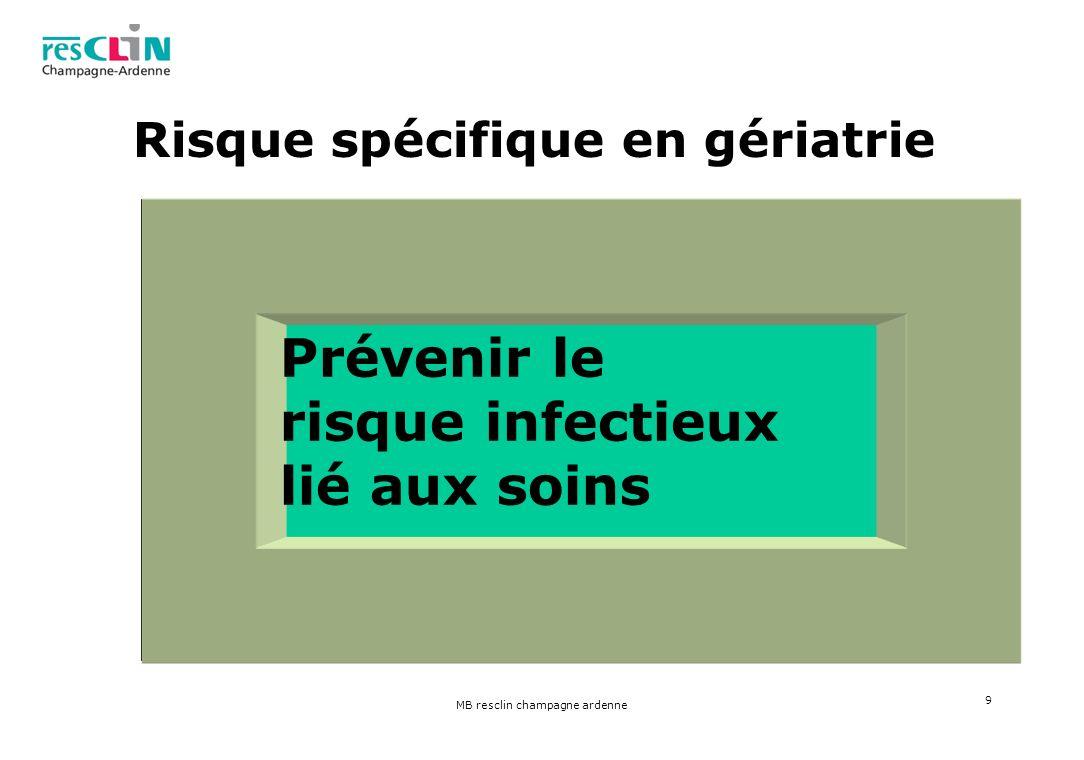 MB resclin champagne ardenne 9 Risque spécifique en gériatrie Prévenir le risque infectieux lié aux soins