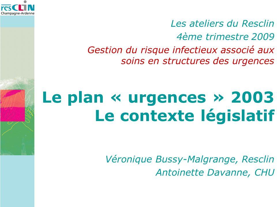 Véronique Bussy-Malgrange, Resclin Antoinette Davanne, CHU Le plan « urgences » 2003 Le contexte législatif Les ateliers du Resclin 4ème trimestre 200
