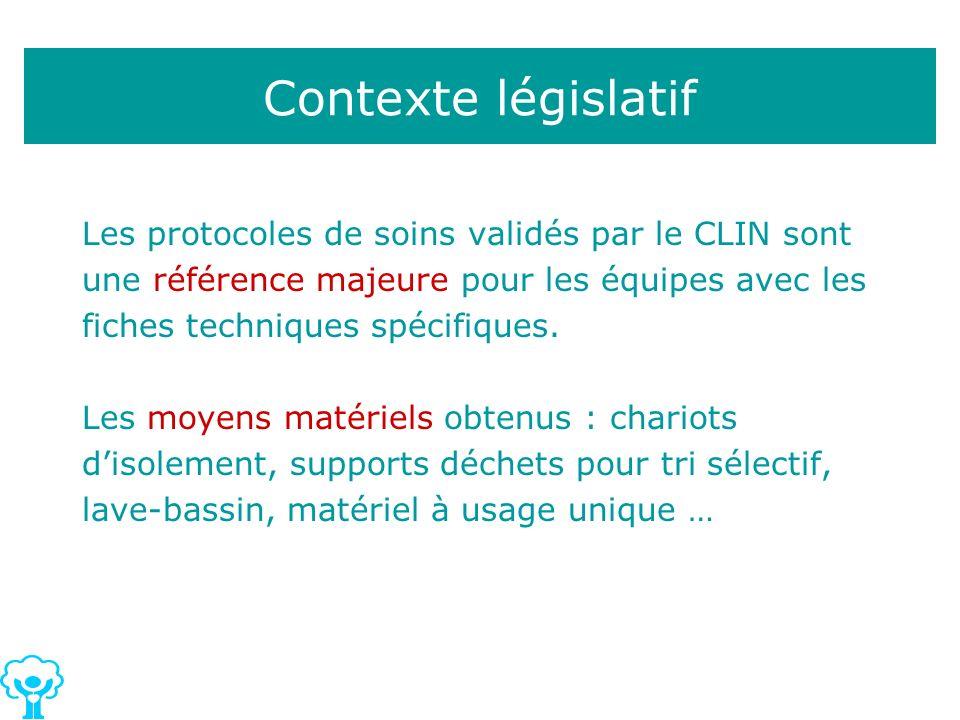 Les protocoles de soins validés par le CLIN sont une référence majeure pour les équipes avec les fiches techniques spécifiques. Les moyens matériels o